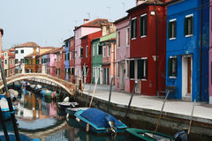 Burano. Colorful houses in Burano streets Stock Images