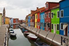 Burano, colourful houses. Stock Photos