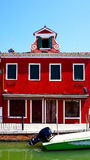 Burano czerwonego koloru budynku architektura Zdjęcie Royalty Free