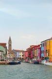 Burano, de huizen van Italië Stock Afbeeldingen