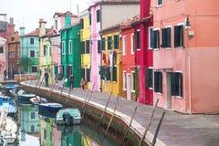 "Burano, †de Itália ""22 de dezembro de 2015: Ilha cênico de Burano da vista na lagoa Venetian Italy Foto de Stock Royalty Free"