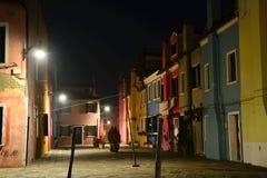 Burano Den färgrika byn i den Venetian Lagunaen Arkivfoto