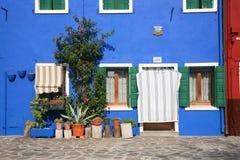 Burano facade. Classic Burano blue house facade royalty free stock image