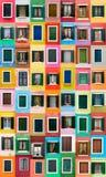 Burano Fenster, Italien Stockfotos