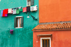 Burano, fragments of colored walls Royalty Free Stock Images