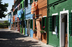 Burano Häuser Lizenzfreie Stockbilder