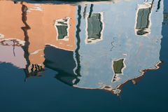 Burano house reflection Royalty Free Stock Photos