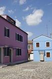 Burano houses. Colorful Houses in the beautiful island of Burano, in the Venetian Lagoon stock photo