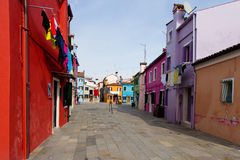Burano houses. Colorful houses in Burano island in the Venetian lagoon stock photography