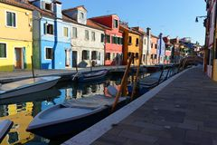 Burano Houses. Burano is situated near Venice. Burano is known for its small, brightly-painted houses Stock Photo
