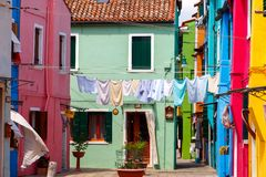 Burano. Houses on the water. Stock Images