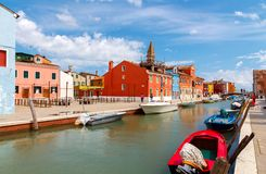 Burano. Houses on the water. Royalty Free Stock Images