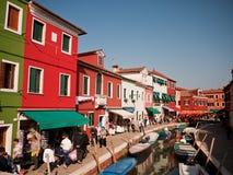Burano Venedig, Italien Arkivbilder
