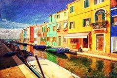 Burano Insel Venedig lizenzfreie abbildung