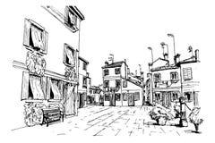 Burano Insel, Venedig, Italien lizenzfreie abbildung