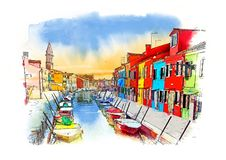 Burano Insel, Venedig, Italien Aquarell-Skizze stock abbildung
