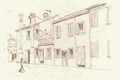 Burano Insel, Venedig, Italien Retro- Art stock abbildung