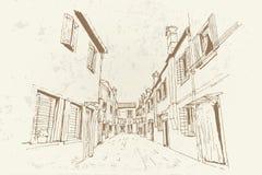 Burano Insel, Venedig, Italien Retro- Art lizenzfreie abbildung