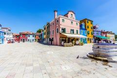Burano isalnd在意大利 免版税图库摄影