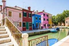 Burano isalnd i Italien Arkivbilder