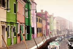 Burano island, colored houses Stock Photos