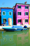 Burano island landscape with colorful houses Stock Photo