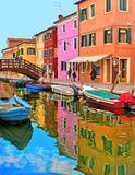 Burano island picturesque street with small colored houses, tourists on wooden bridge and beautiful water reflections. 01.12.2018. Burano island picturesque royalty free stock photography