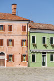 Burano island ,typical  colorful houses - Italy Stock Image