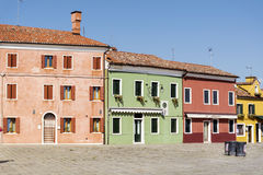 Burano island ,typical  colorful houses - Italy Stock Photo