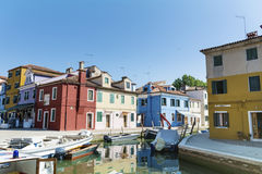 Burano island ,typical  colorful houses - Italy Stock Images