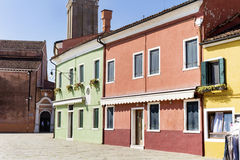 Burano island ,typical  colorful houses - Italy Stock Photography