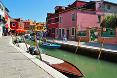 Burano Island in the Venetian lagoon Italy Stock Photos
