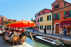 Burano Island in the Venetian lagoon Italy Stock Images