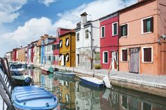 Burano island, Venice, Italy, Europe - canal and colorful houses beautiful view Royalty Free Stock Photo
