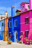 Burano island. Venice. Italy. Multicolored houses in Burano island. Venice. Italy Stock Image