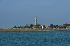 Burano island, view from boat in the lagoon Venice Stock Images