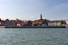 Burano island, view from boat in the lagoon Venice Stock Photo