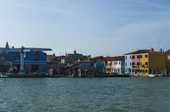 Burano island, view from boat in the lagoon Venice Stock Photos