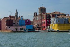 Burano island view from one boat in the lagoon Royalty Free Stock Photos