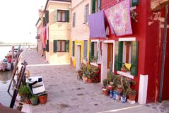 Burano, Italy. Houses on the isle Burano in the laguna of Venice in Italy Royalty Free Stock Photography