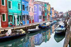Burano, Italy – December  22, 2015: Scenic view Burano  island in the Venetian lagoon. Italy. Stock Photos