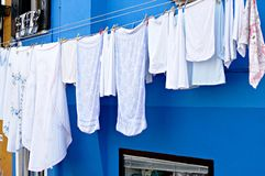Burano, Italy. Laundry hung to dry in Burano, Italy Stock Images
