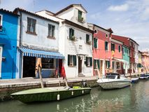 Burano, Italy - 21 May 2015: Painted buildings and canals on the Royalty Free Stock Photos