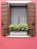 Burano, Italy - 21 May 2015: Red painted building. Close up of w. Indow shutters and plant box in window on one of the many different coloured painted buildings Stock Image