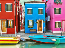 Burano, Italy - painted houses Stock Photo