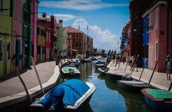 Burano kanal Italien Royaltyfria Bilder
