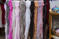 Burano lace-scarf royalty free stock photo