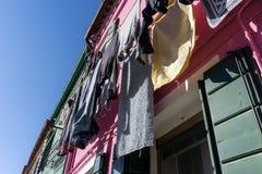 Burano laundry Stock Photo