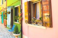 Burano life. Street life Burano Venice houses multicolor Stock Photography