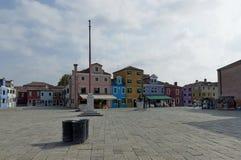 Burano main square Baldassare Galuppi (italian composer) Royalty Free Stock Image